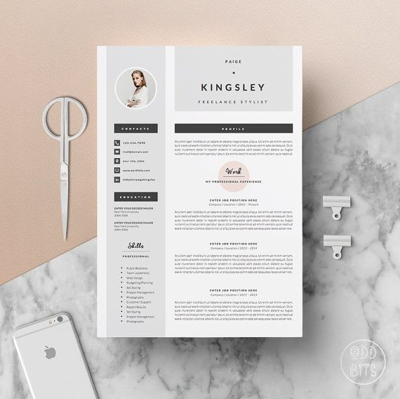 professional resume template for word 1  u0026 2 page par oddbitsstudio