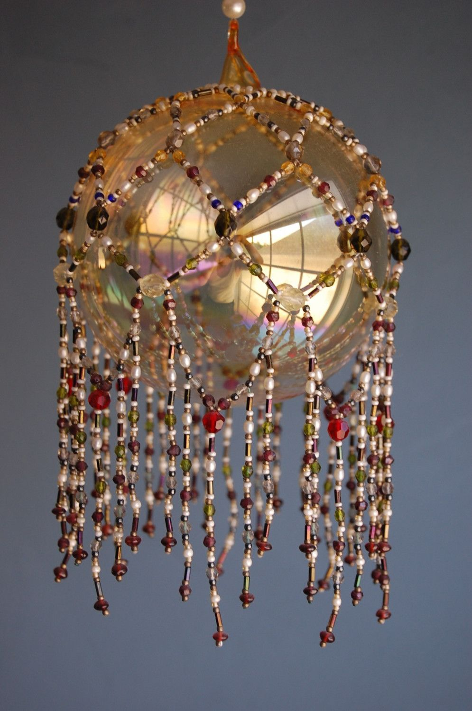 Beaded overlay for glass ball. Beautiful.   Handmade ...