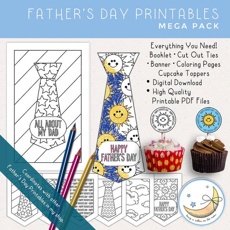 Father's Day Printable Mega Pack: Booklet, Cut Out Ties, Banner, Coloring Pages, Cupcake Toppers [Digital Download] – Rachel&Father'sDay