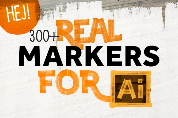300+ REAL MARKERS FOR ILLUSTRATOR by HEJBRUSH.COM on @creativemarket