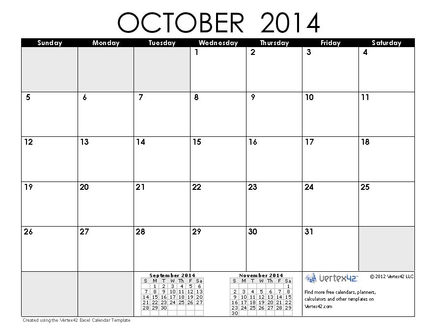 October 2014 Calendar | calendar | Pinterest