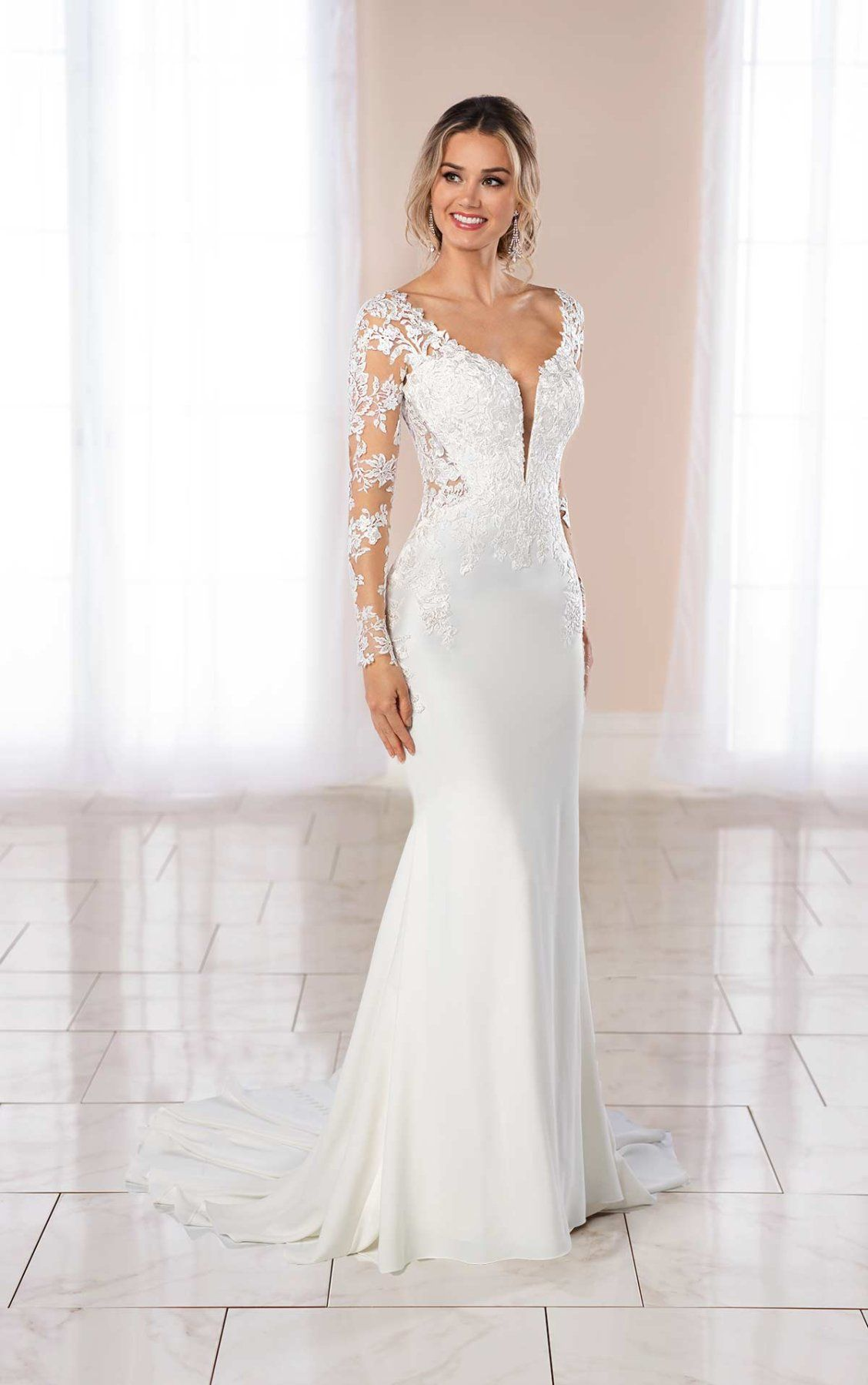 Lace and Crepe Wedding Gown with Side Cutouts Stella