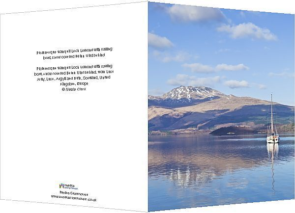 Greetings Card-Picturesque tranquil Loch Lomond with sailing boat, snow covered Beinn Uird behind-6x8 inch Greetings Card made in the UK