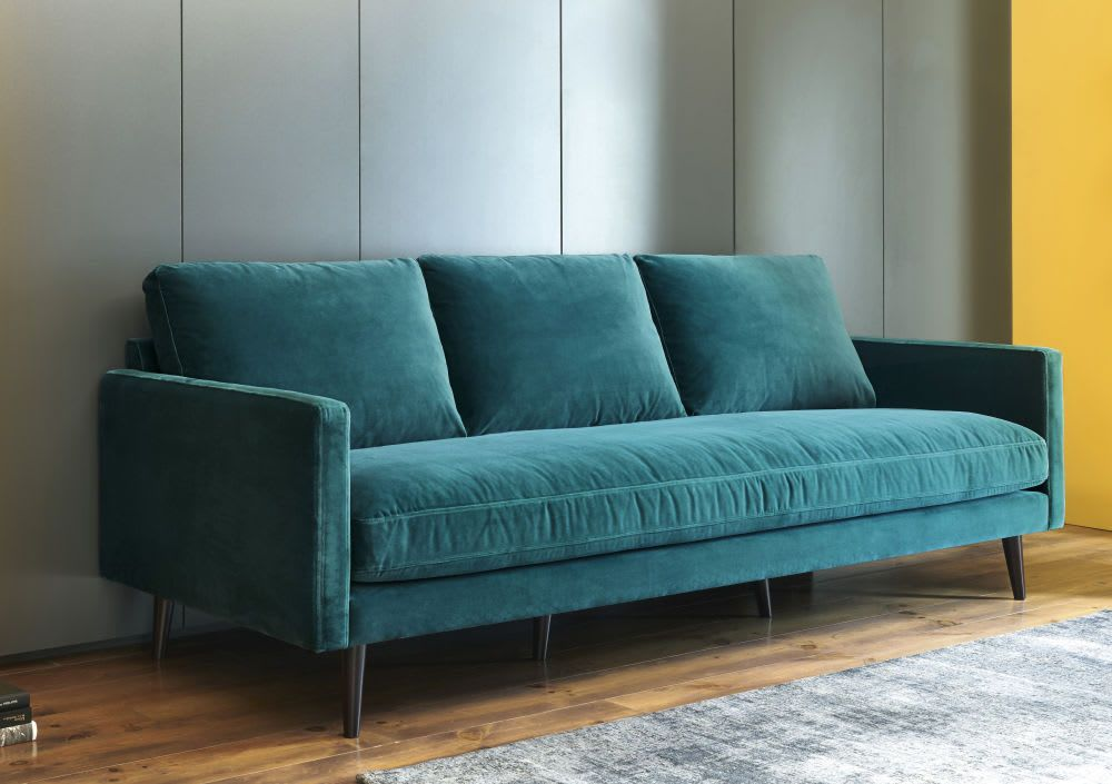 Peacock Blue 4 Seater Velvet Sofa Sectional Couch In 2019
