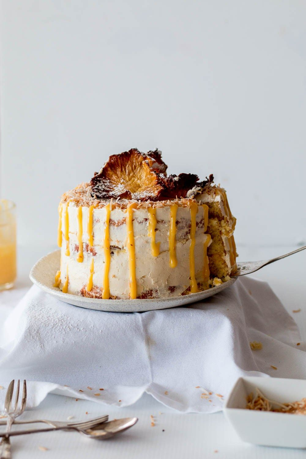 Gluten Free Pineapple Coconut Cake With Passionfruit Curd Recipe And