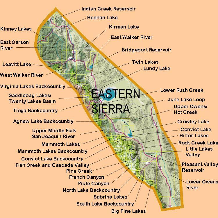 Eastern Sierra Lakes Map Eastern Sierra Nevada Camping In 2019