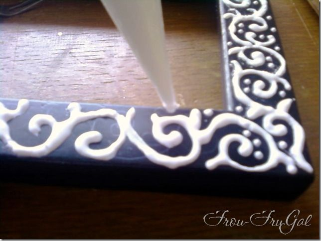 Another pinner said: Dress up a cheap frame by decorating is with glue, let it dry, and then paint over it with one solid color and it looks like a specialty carved frame! (Wonder if it'll work...)