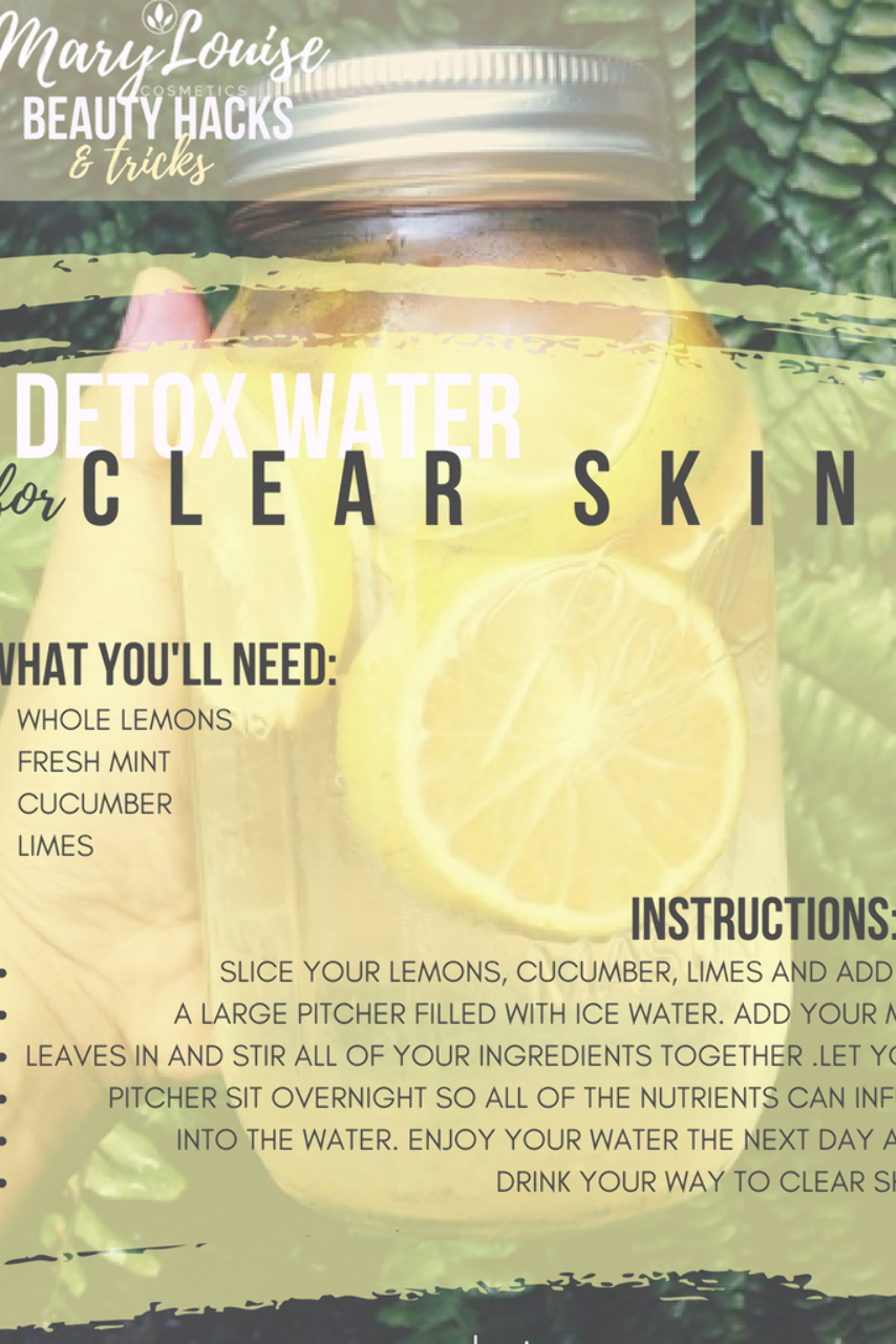 Detox Water For Clear Flawless Skin And Flat Tummy Easy Diy Drinks That Will Help Give Yo Detox Water For Clear Skin Clear Skin Detox Detox Drinks Flat Tummy