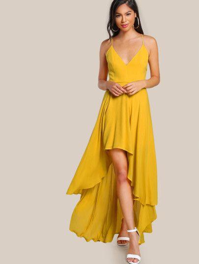 15++ Yellow high low dress info