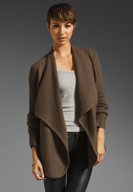 Vince Boiled Wool Sweater Jacket In Brown Sugar At Revolve Clothing
