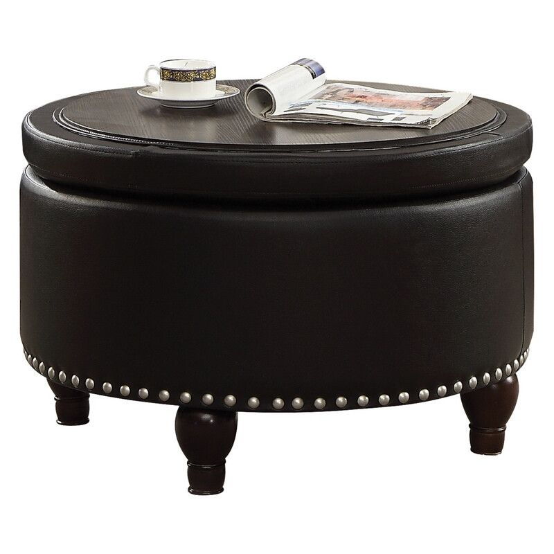 Acme 80425 essick ii black faux leather round storage