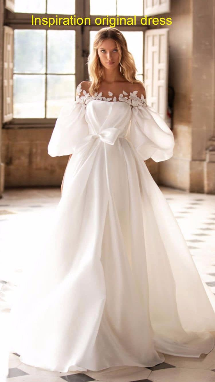 Puffy Sleeves White Tulle A Line Wedding Dress With Bow Tie At Waist Bow Wedding Dress Bridal Dresses A Line Wedding Dress [ 1332 x 750 Pixel ]