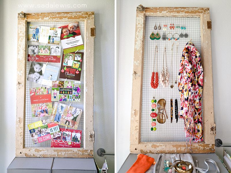 Old door frame and chicken wire used to display Christmas cards and ...