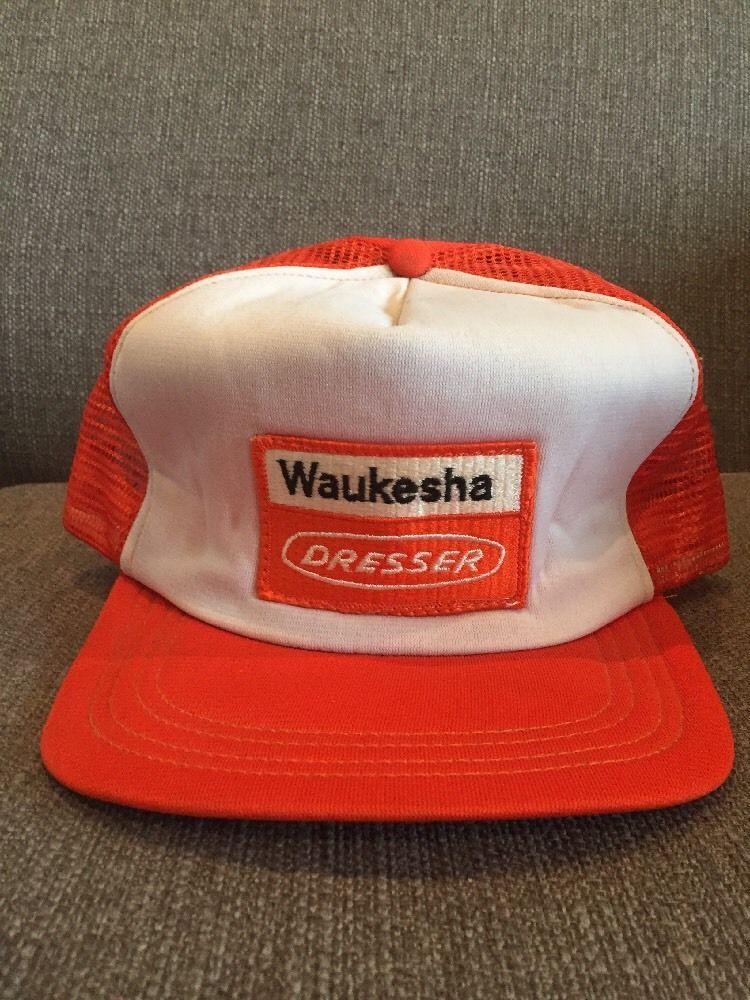 Vtg Waukesha Dresser Mesh Snap Back Trucker Hat White Orange Motors Ge Usa
