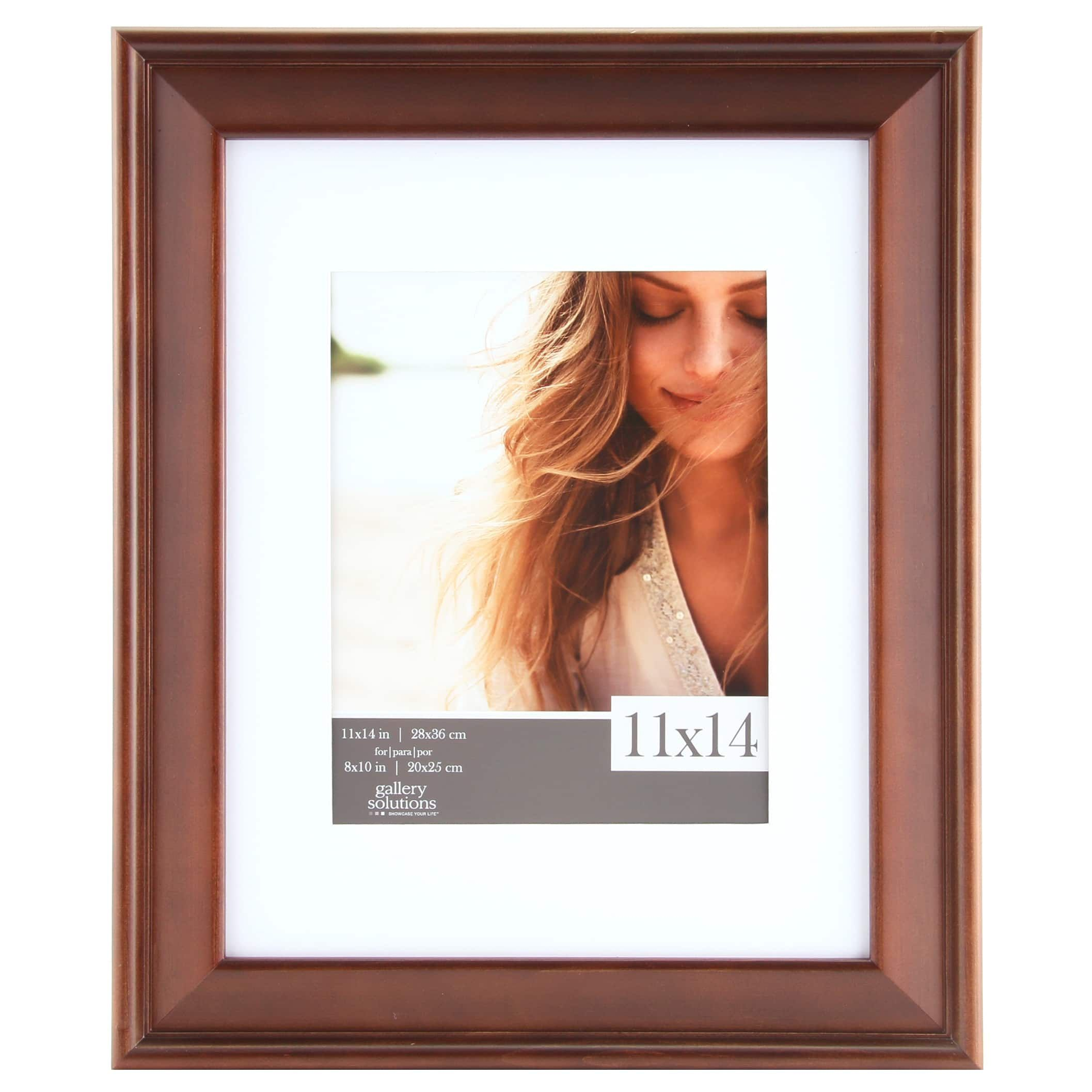 Gallery Solutions Walnut Wood White Slant Matted Frame (8x10/5x7 ...