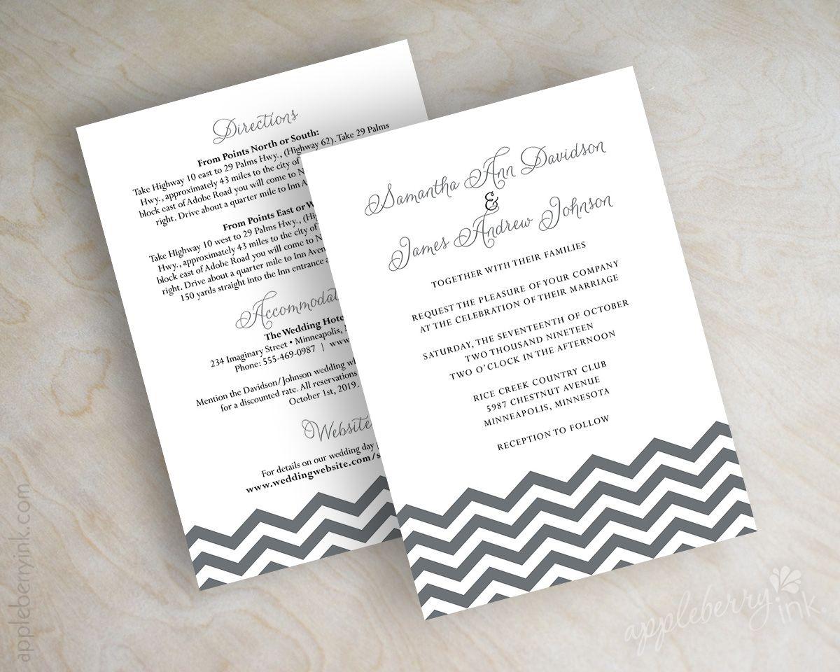 Gray and white chevron, simple wedding invitations, wedding invites ...