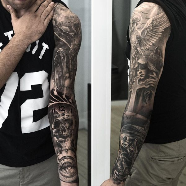 The Idea Of Good Vs Evil On The Sleeve Tattoo Sleeve Tattoos Tattoo Sleeve Designs Cool Tattoos For Guys