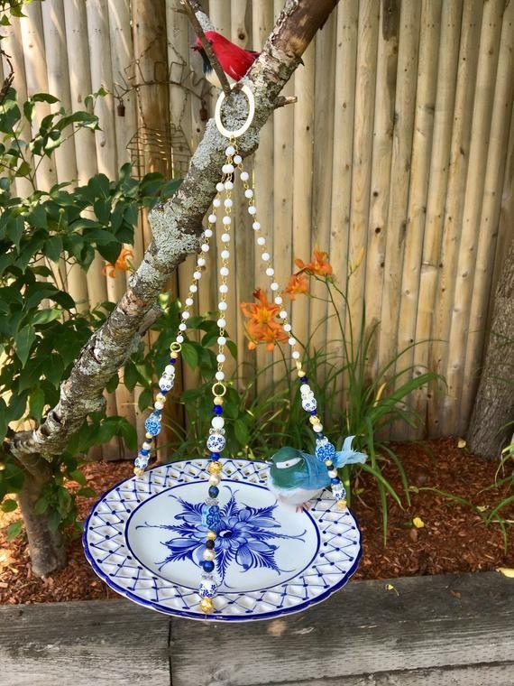 Blue White Dish Bird Feeder, Repurposed Plate Bird Feeder