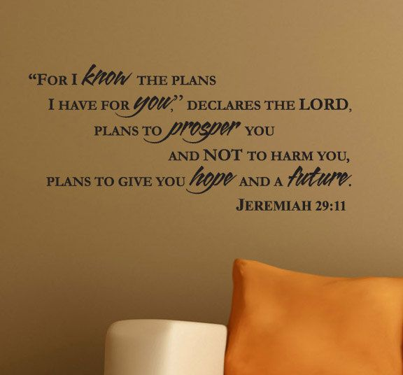 Wall Decal JEREMIAH  For I Know The Plans I Have For You - Bible verse nursery wall decals