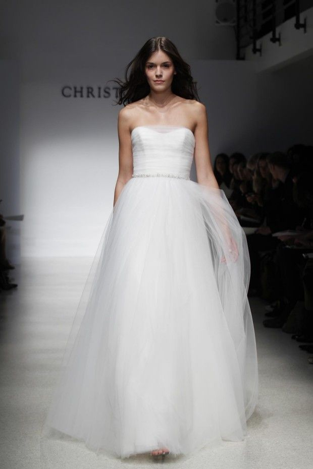 Fashion Friday: Christos Spring/Summer 2012 | http://brideandbreakfast.ph/2011/05/27/fashion-friday-christos-springsummer-2012/ | Designer: Christos | Simple white sheer gown