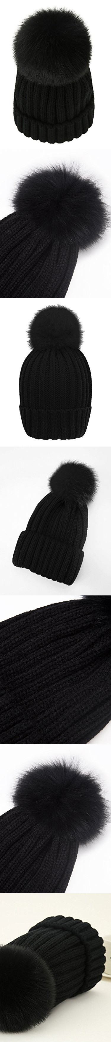 2a30f8c51ab LITHER Womens Girls Winter Fur Hat Real Large Fox Fur Pom Pom Beanie Winter  Hats Fur