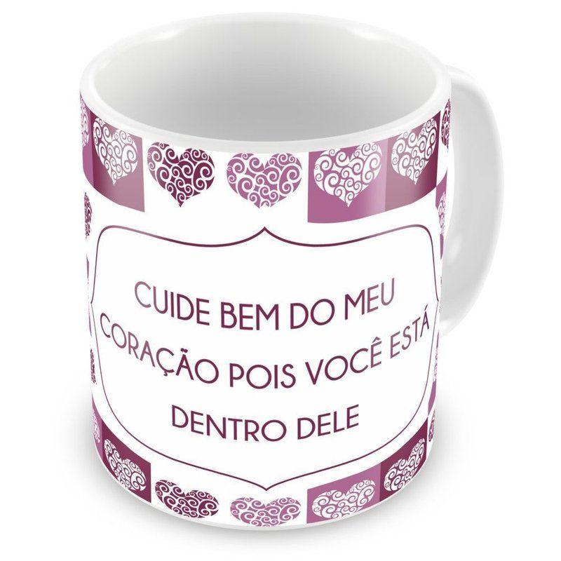 Caneca Porcelana Personalizada Cuide Bem Do Meu Coração - ArtePress | Brindes Personalizados, Canecas, Copos, Xícaras