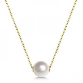370aca8d1a9ad Solitaire Floating Akoya Pearl Pendant Necklace 14K Yellow Gold 7.5 ...