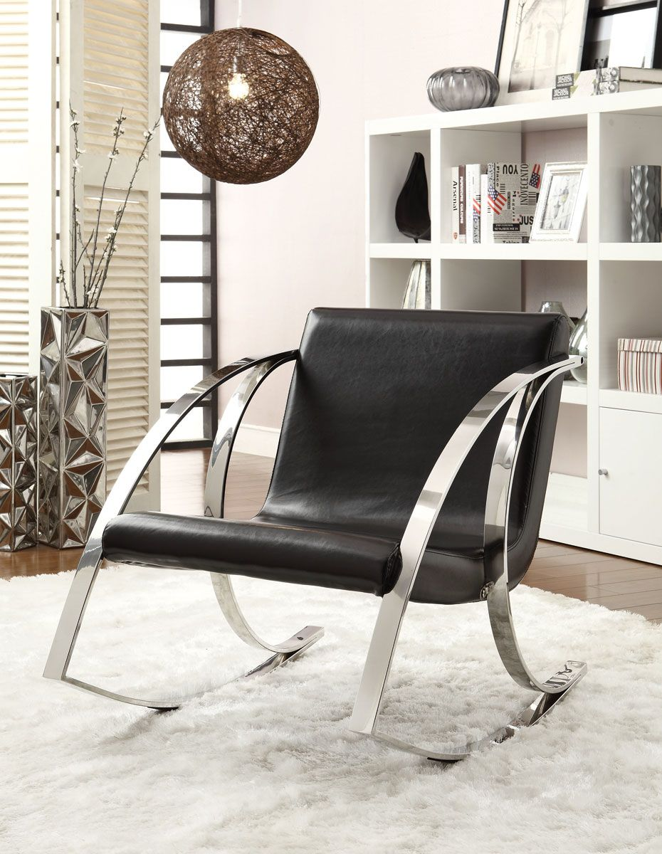 Modern rocking accent chair with curvaceous chrome arms and legs with black leather-like vinyl & Modern rocking accent chair with curvaceous chrome arms and legs ...