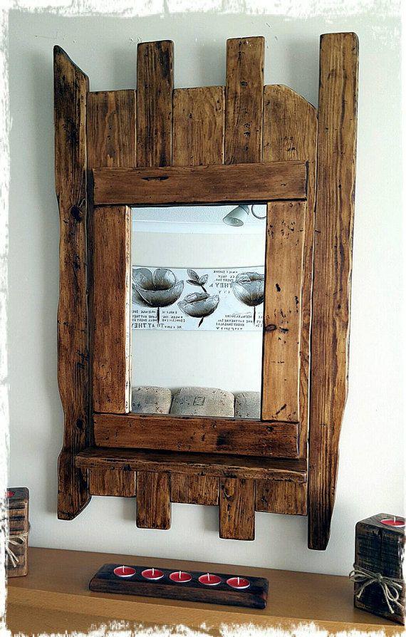 R stico hecho a mano grande de madera espejo entrada for Ganchos para repisas