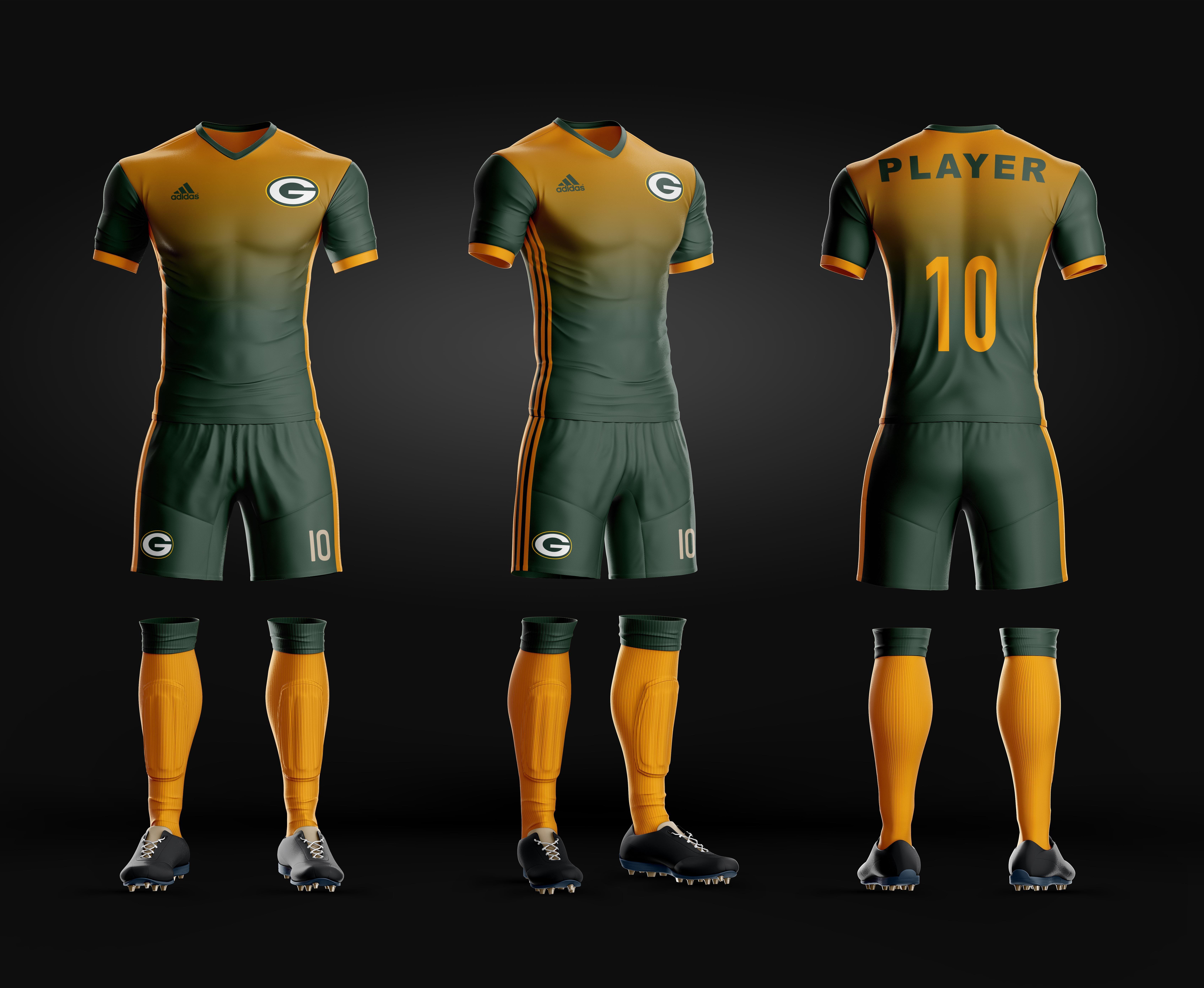 Soccer Uniform Green Bay Packers Home Uniformes Futebol Camisas De Futebol Futebol