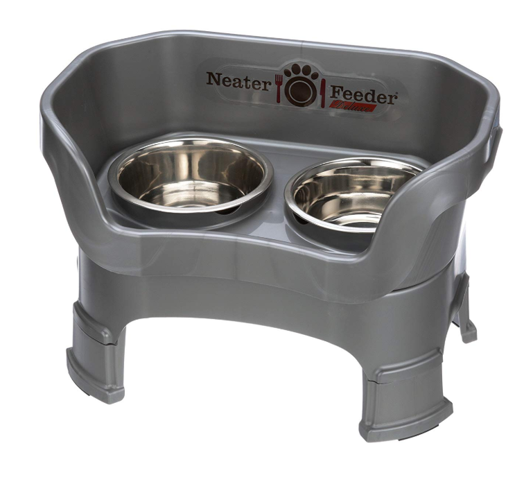 Neater Pet Brands Neater Feeder Deluxe With Leg Extensions Medium Gunmetal Grey Airtight Pet Food Storage Medium Sized Dogs Leg Extensions