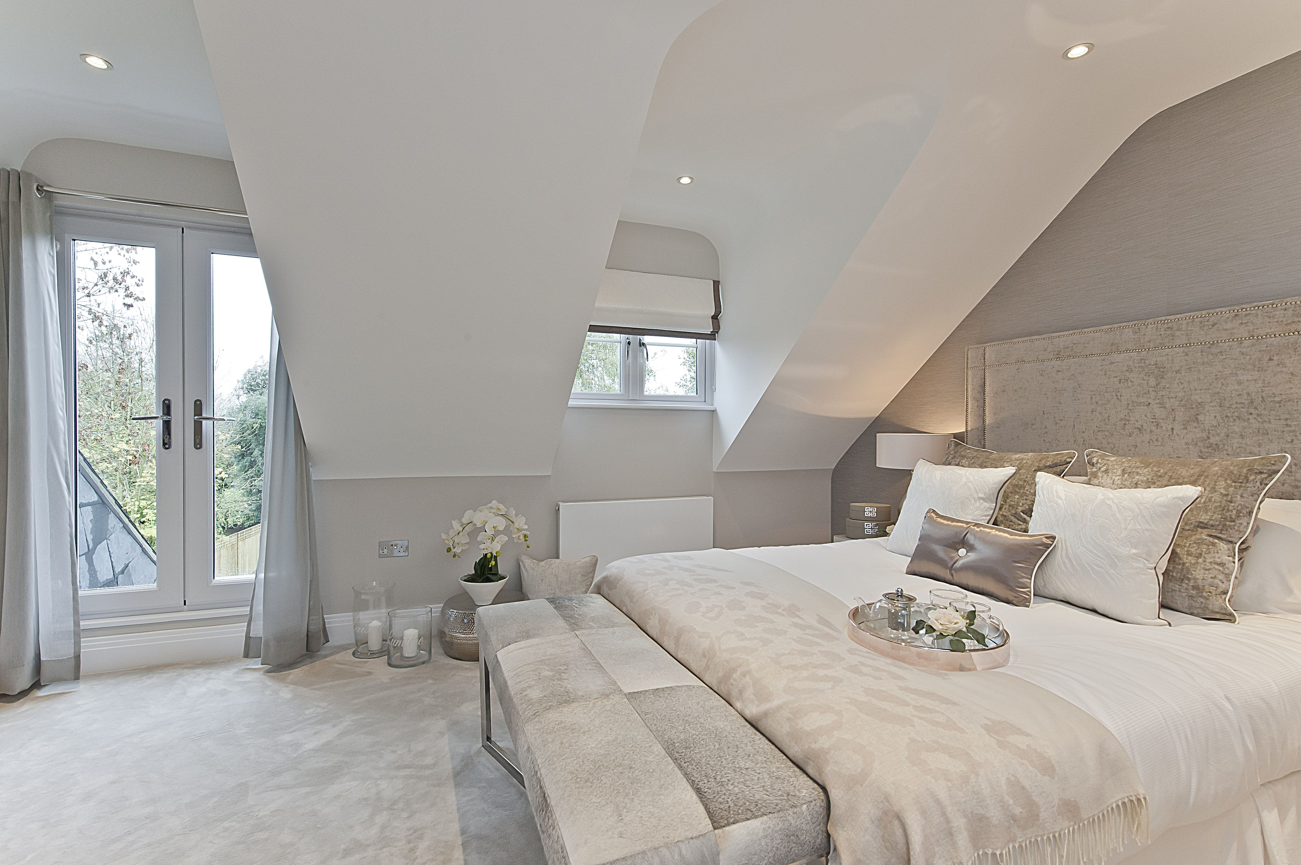 Bedroom ideas for loft rooms  Plush carpets with gold trimmings  BEDROOM IDEAS in