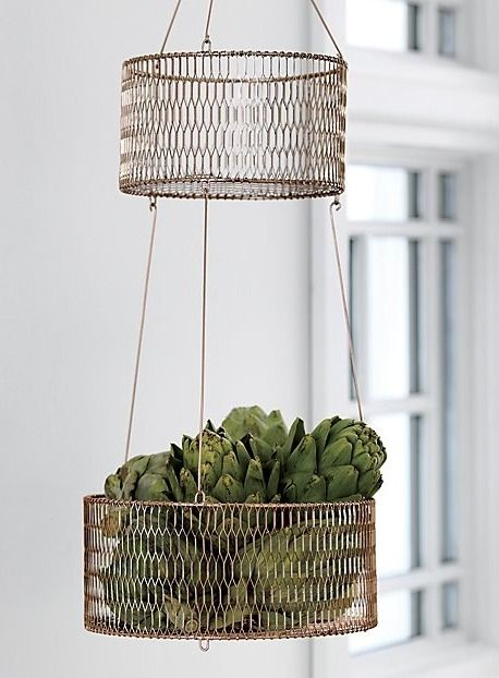 Copper Keeper Suspend 100 Iron 2 Tier Basket With Electroplated Copper Finish From Above Or Easily S Hanging Wire Basket Copper Basket Hanging Fruit Baskets