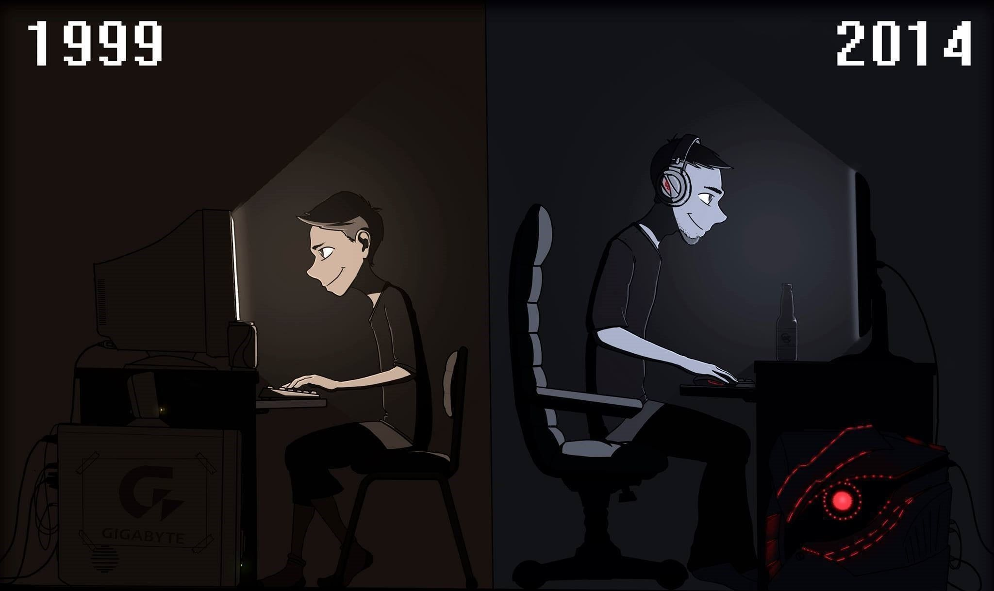 Two Man And Boy Playing Computer Illustrations Before And After Image Gigabyte Computer Gamers Pc Gaming Video Games Fundo De Animação Animação Pinterest