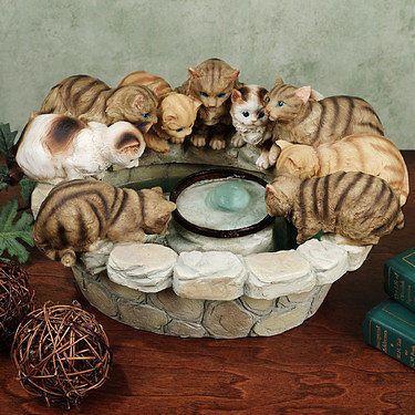 Kittens Indoor Outdoor Garden Patio Table Water Fountain