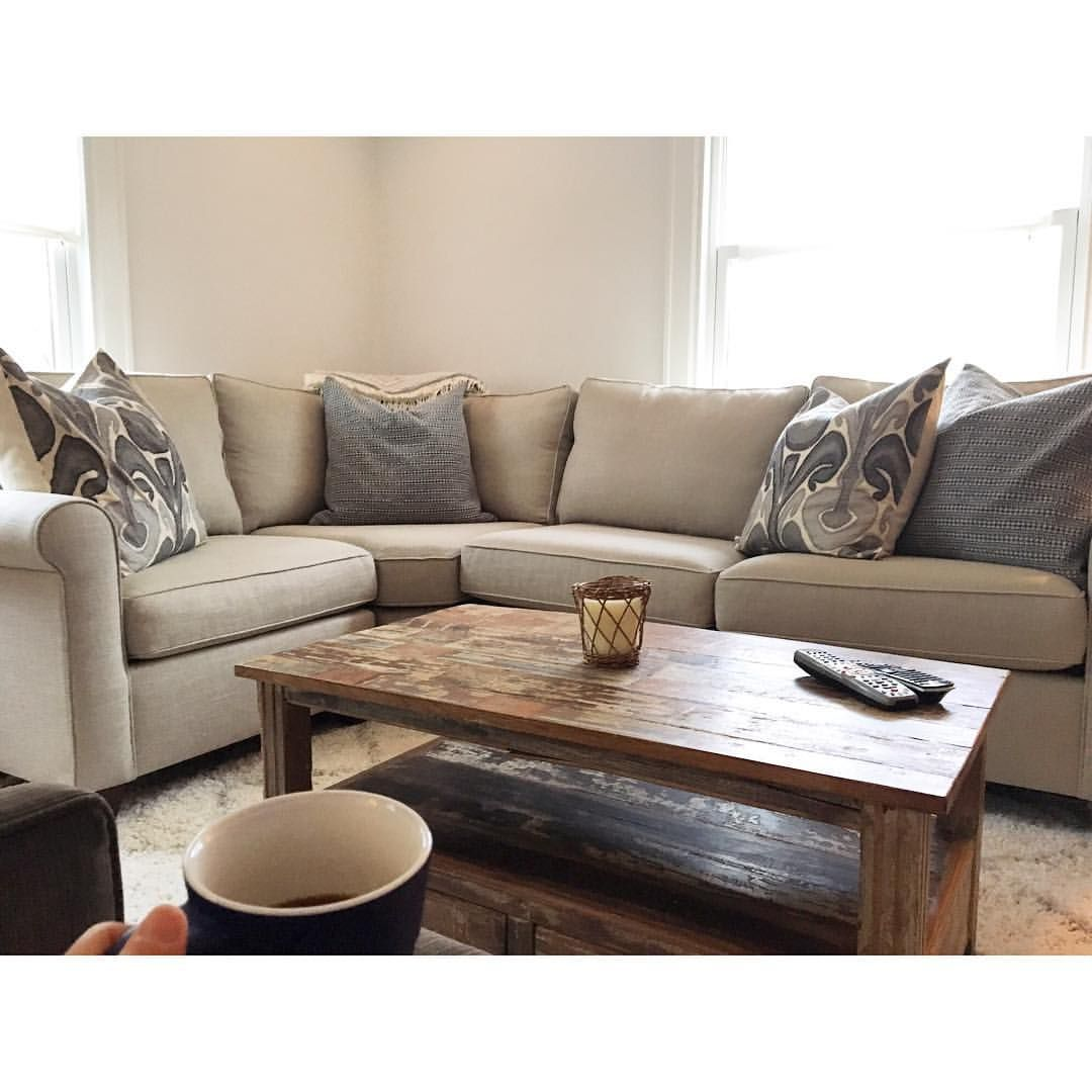 Pottery barn sectional cameron roll arm in everyday linen stone