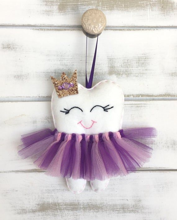 The Original Personalized Tutu Tooth Fairy Pillow with Glitter Crown any colour, great gift i... #toothfairyideas
