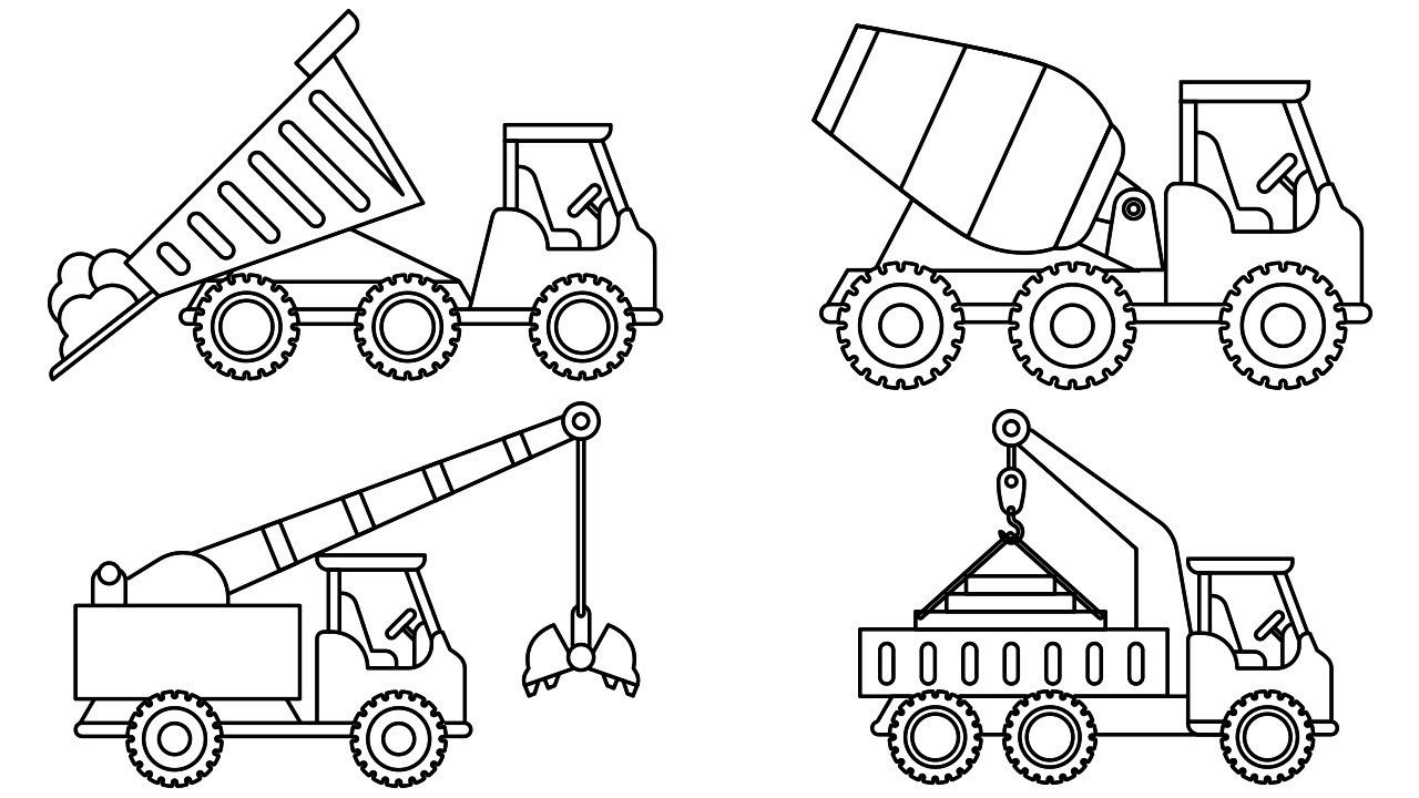 Learn Colors For Kids With Big Construction Truck Colouring Pages