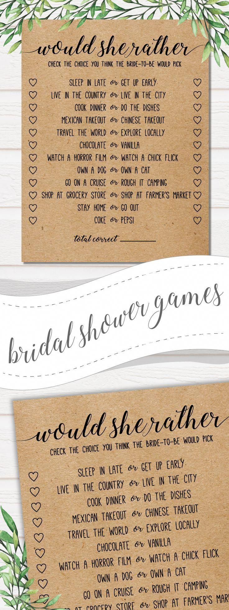 Would She Rather . Would She Rather Bridal Shower Game ...