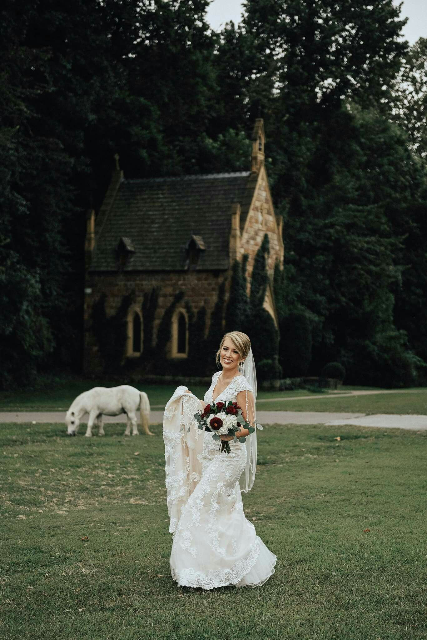 Ross wedding dress  Bridal portrait at St Catherines Bell Gable in Arkansas Photo by