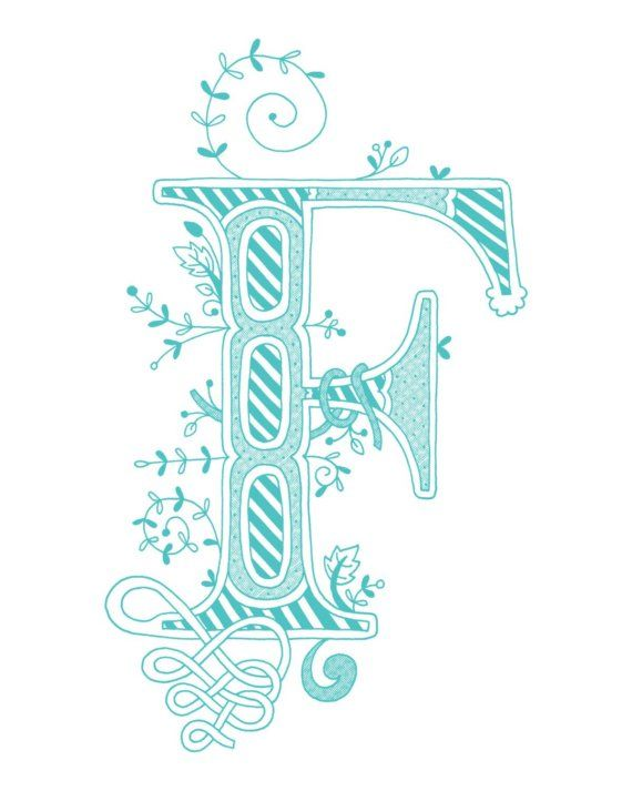 Hand Drawn Monogrammed Print 8x10 The Letter F In By Jenskelley 1500