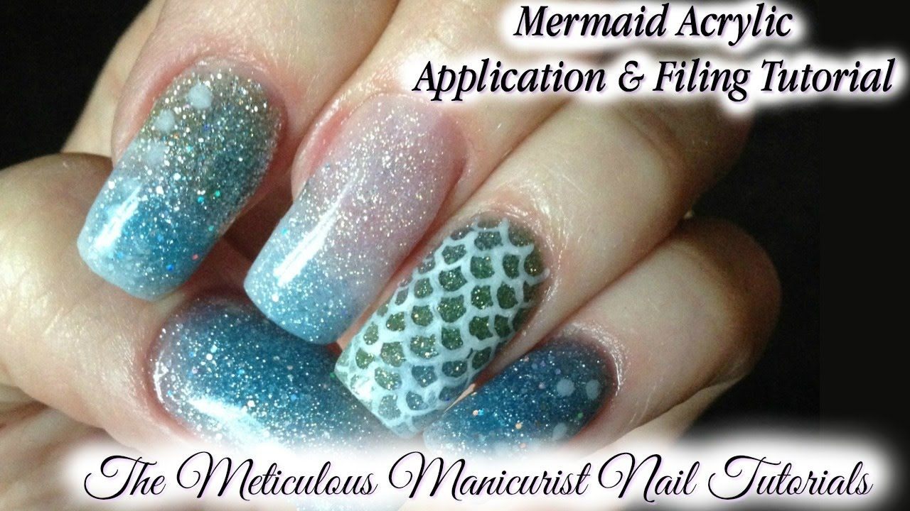 Mermaid Colored Acrylic Nails Application with Minimal Filing ...