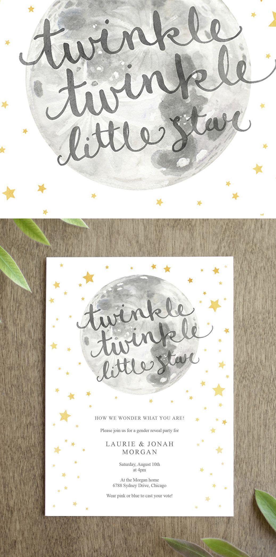 Twinkle Twinkle Little Star Gender Reveal Party Invitation ...