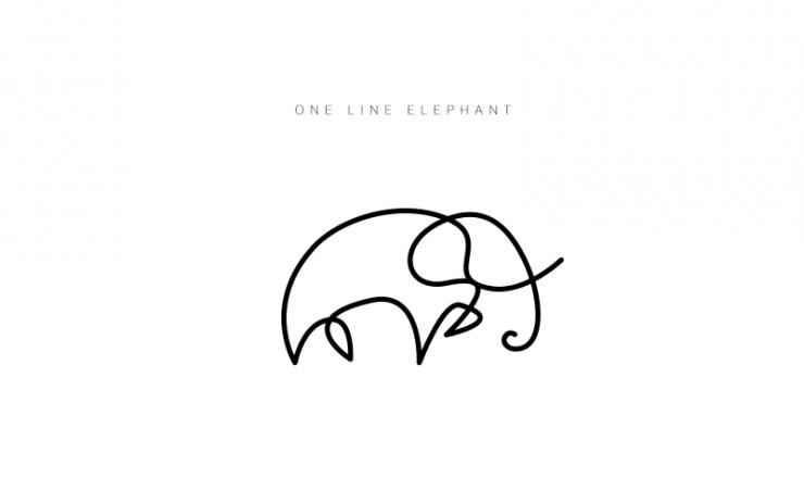 Minimalist Elephant Drawing: Minimalist Animal Logos Drawn With A Single Line By