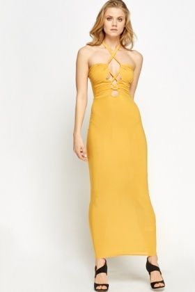 Tie Up Mustard Cut Out Maxi Dress