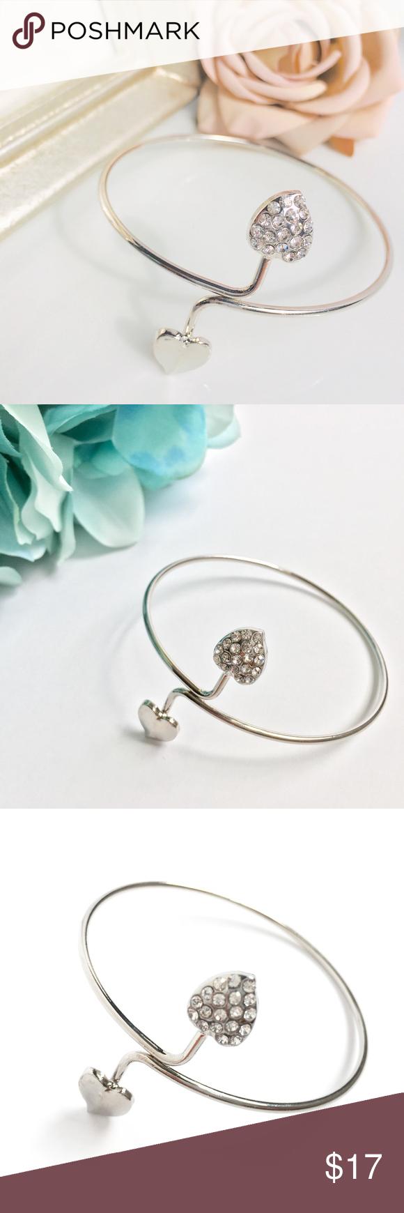 Photo of Double Heart Swish Silber Armreif Armband Bundle 3 Schmuckstücke für $ 35! (Bundl …