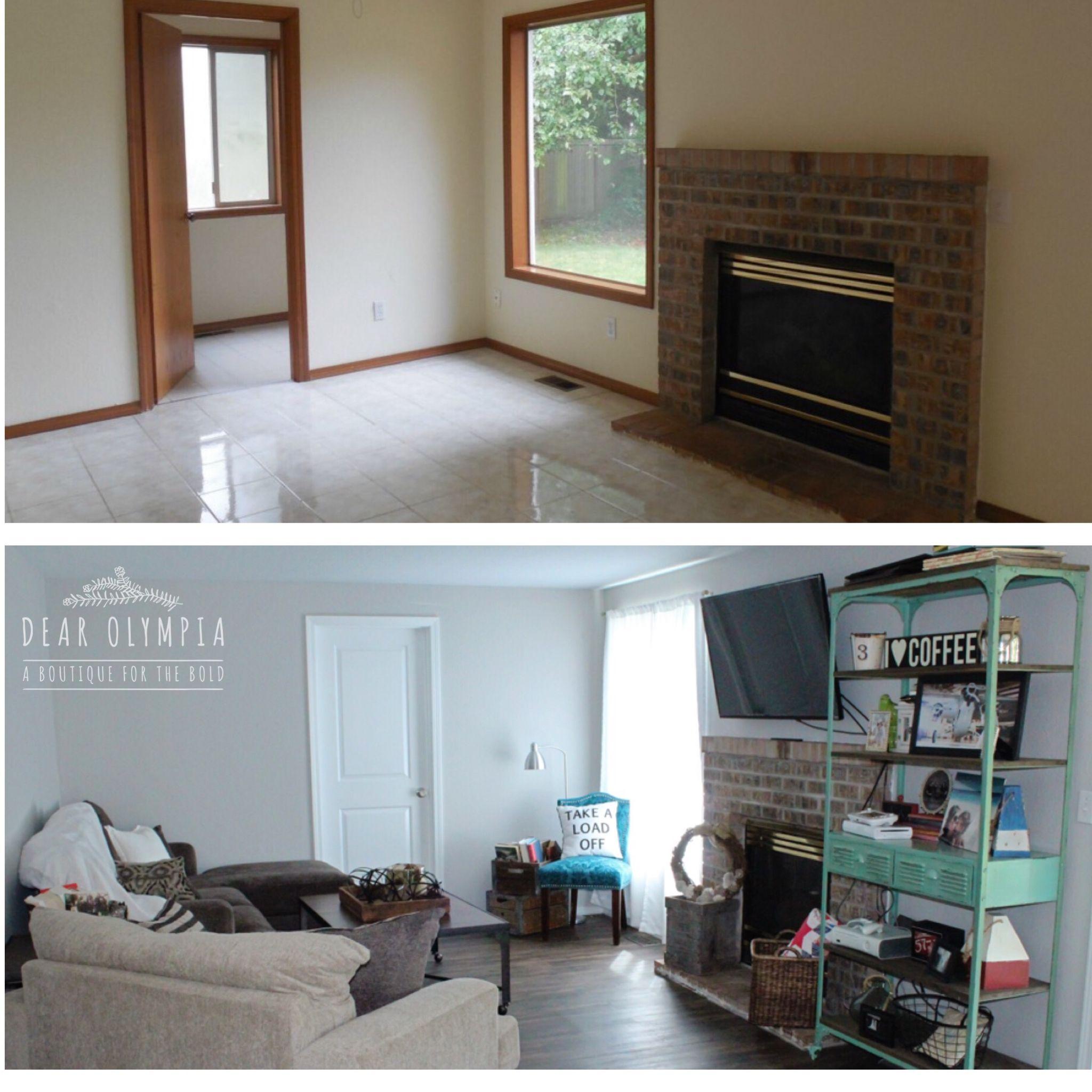 Renovate Brick Fireplace Home Renovation In Sherwin Williams Repose Grey White Trim Brick