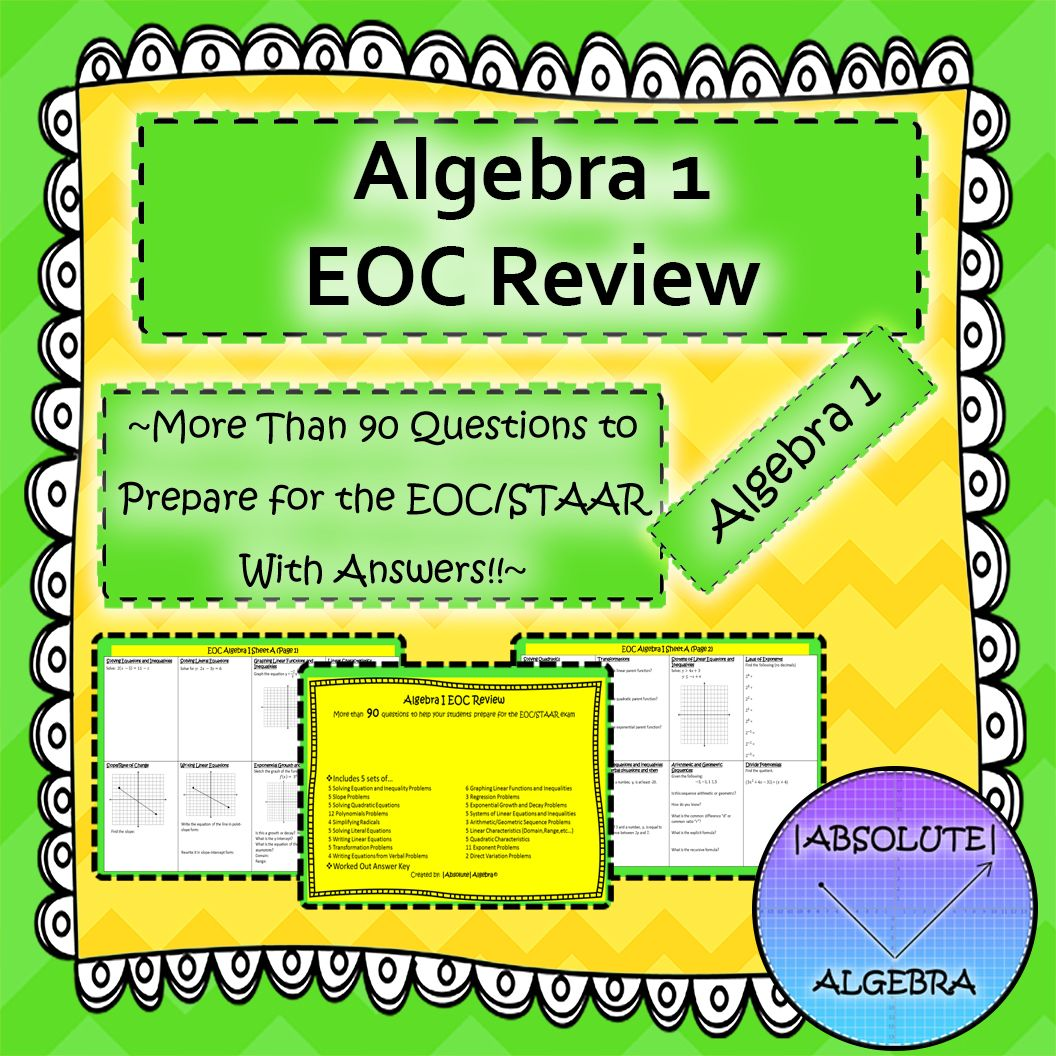 Algebra 1 End Of Course Eoc Review