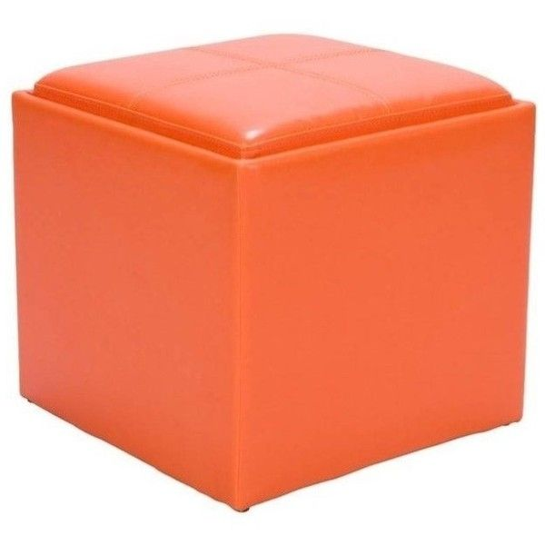 Trent Home Ladd Faux Leather Storage Cube Ottoman ($82) ❤ Liked On Polyvore  Featuring