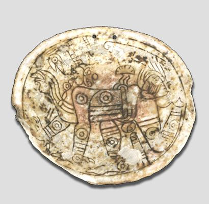 A Mississippian Culture Hemphill Style Shell Gorget Depicting Crouching Man Possibly Impersonating Jaguar Or